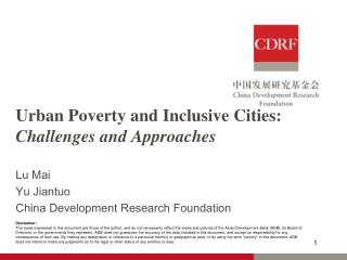Urban Poverty and Inclusive Cities:  Challenges and Approaches