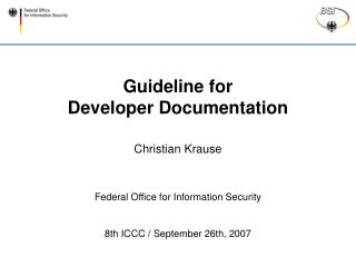 Guideline for Developer Documentation