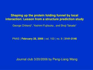 Journal club 3/20/2006 by Peng-Liang Wang