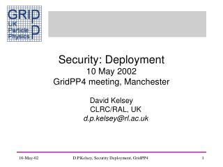 Security: Deployment 10 May 2002 GridPP4 meeting, Manchester