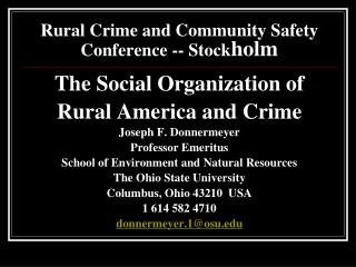 Rural Crime and Community Safety Conference -- Stock holm