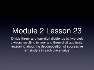 Module 2 Lesson 23
