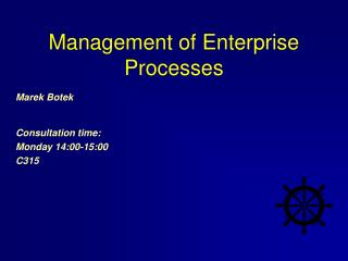 Management of Enterprise Processes