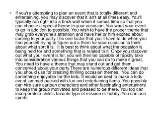 If you're attempting to plan an event