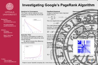 Investigating Google's PageRank A lgorithm