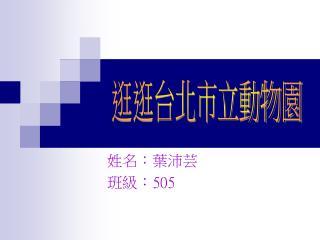 姓名:葉沛芸 班級: 505