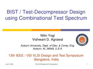 BIST / Test-Decompressor Design using Combinational Test Spectrum