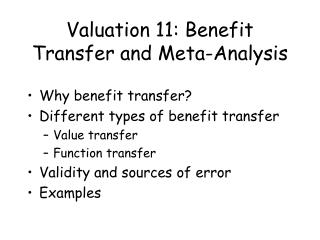 Valuation 11: Benefit Transfer and Meta-Analysis