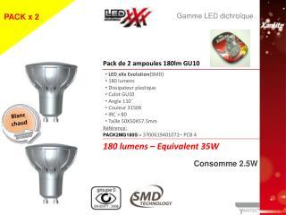 LED xXx Evolution (SMD)  180  lumens  Dissipateur plastique  Culot GU10  Angle 110°