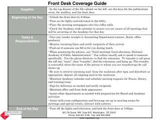 Front Desk Coverage Guide