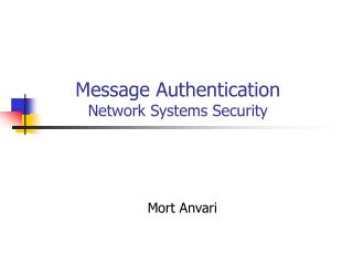 Message Authentication Network Systems Security