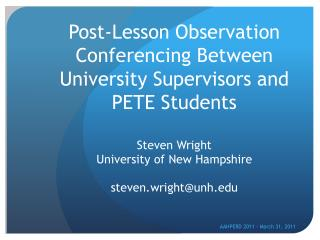 Post-Lesson Observation Conferencing Between University Supervisors and PETE Students