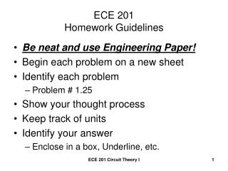 ECE 201 Homework Guidelines