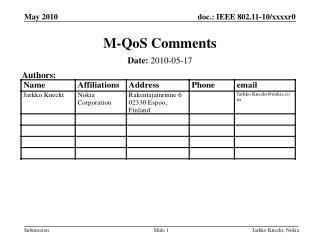 M-QoS Comments