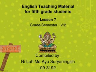 English Teaching Material for fifth grade students