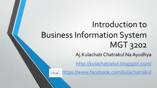 Introduction to  Business  Information System MGT  3202