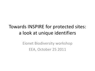 Towards INSPIRE for protected sites: a look at unique identifiers