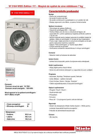W 3164 WSS  Edition 111  –  Maşină de spălat de sine stătătoare 7 kg