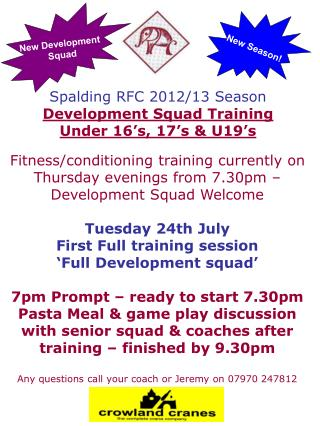 Spalding RFC 2012/13 Season Development Squad Training Under 16's, 17's & U19's