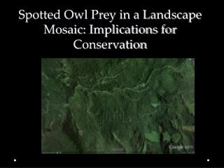 Spotted Owl Prey in a Landscape Mosaic: Implications for Conservation