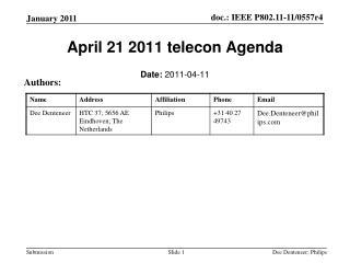 April 21 2011 telecon Agenda