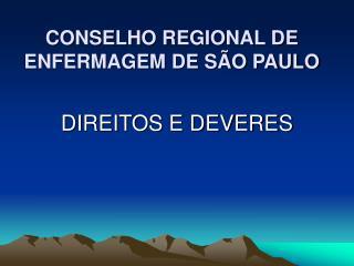 CONSELHO REGIONAL DE ENFERMAGEM DE S O PAULO