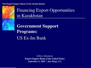 Financing Export Opportunities in Kazakhstan