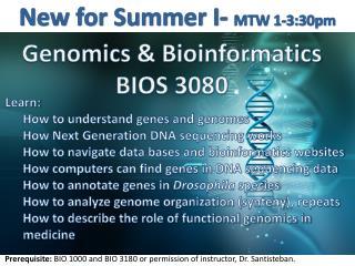 Genomics & Bioinformatics BIOS 3080