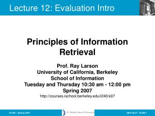 Lecture 12: Evaluation Intro