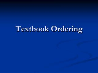 Textbook Ordering
