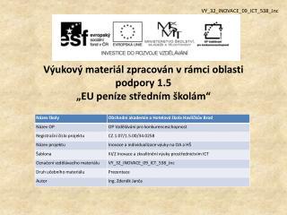 """Výukový materiál zpracován vrámci oblasti podpory 1.5 """"EU peníze středním školám"""""""