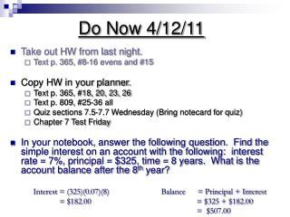 Do Now 4/12/11