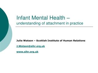Infant Mental Health –  understanding of attachment in practice
