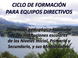 CICLO DE FORMACI N  PARA EQUIPOS DIRECTIVOS   Dimensi n pedag gico-curricular  de las instituciones escolares  de los Ni