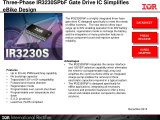 Three-Phase IR3230SPbF Gate Drive IC Simplifies eBike Design
