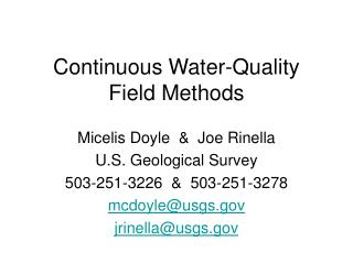 Continuous Water-Quality Field Methods