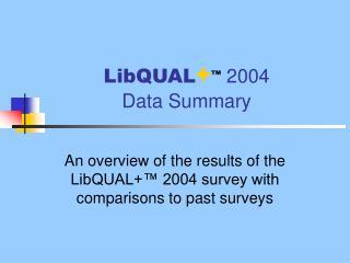 LibQUAL + ™  2004  Data Summary