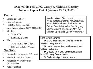 ECE 4006B Fall, 2002, Group 3, Nickolas Kingsley Progress Report Period (August 25-29, 2002)