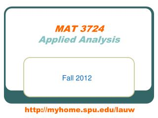 MAT 3724 Applied Analysis