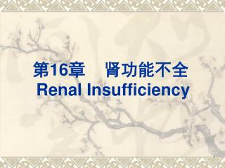 第 16 章    肾功能不全 Renal Insufficiency