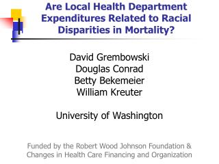 Are Local Health Department Expenditures Related to Racial Disparities in Mortality?