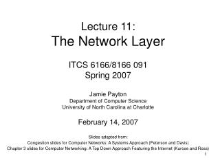 Lecture 11: The Network Layer