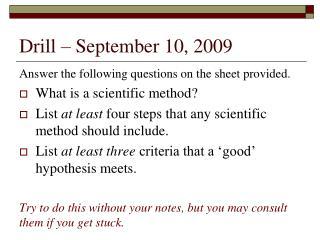 Drill – September 10, 2009