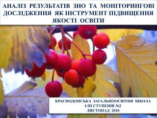 КРАСНОДОНСЬКА  ЗАГАЛЬНООСВІТНЯ  ШКОЛА   І-ІІІ СТУПЕНІВ №2 ЛИСТОПАД  2010
