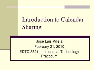 Introduction to Calendar Sharing