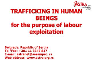 TRAFFICKING IN HUMAN BEINGS for the purpose of labour exploitation