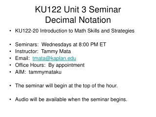 KU122 Unit 3 Seminar Decimal Notation