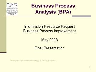 Business Process  Analysis (BPA)