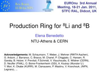 Production Ring for  8 Li and  8 B