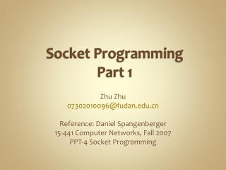Socket Programming Part 1